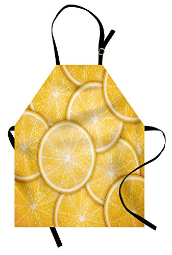 Lunarable Yellow Apron, Citrus Orange Lemon Cut Slice Fresh Fruit Pattern Healthy Cool Living Inspired Artprint, Unisex Kitchen Bib with Adjustable Neck for Cooking Gardening, Adult Size, -