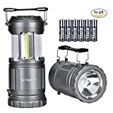 LED Camping Lantern - GYMAN 2 Pack LED Camping Lantern&Flashlight Latest COB Technology Survival Kit for Emergencies, Hurricanes, Storms, Camping Gear for Hiking, Outages, Night, Fishing