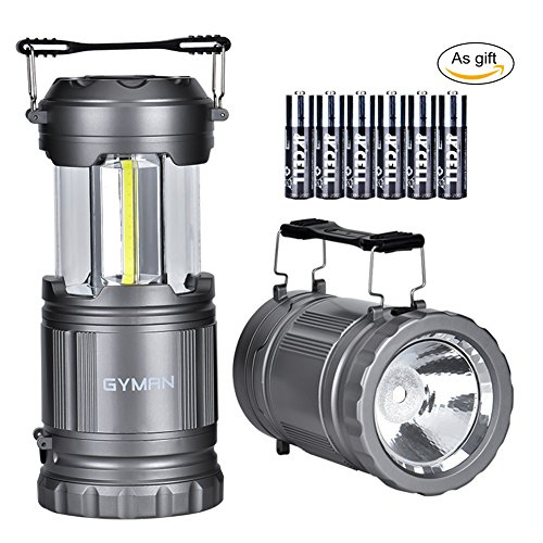 GYMAN 2 Pack LED Camping Lantern&Flashlight Latest COB Technology Survival Kit for Emergencies, Hurricanes, Storms, Camping Gear for Hiking, Outages, Night, Fishing