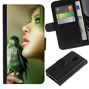 Paccase / Billetera de Cuero Caso del tirón Titular de la tarjeta Carcasa Funda para - Nature Green Bird Woman Portrait Profile - Samsung Galaxy S5 V SM-G900