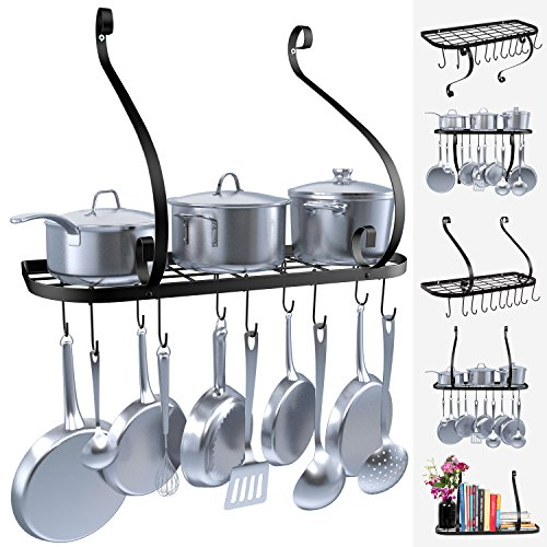 (VDOMUS Wall Mount Pot Pan Rack, Kitchen Cookware Storage Organizer, 24 by 10 in with 10 Hooks, Black)