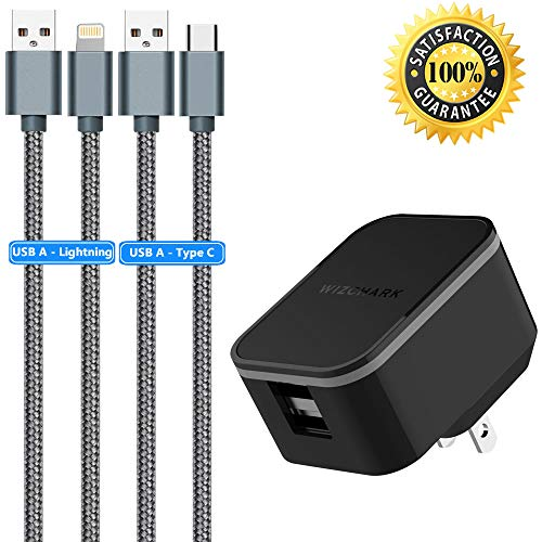 USB Wall Charger, Travel Charger, Charging Adapter with 2X 3ft Nylon Braided USB Cables 2Amp Dual USB Ports Foldable Prongs (UL Listed) for iPhone X/8/7/6S/6S Plus, iPad, Huawei, Samsung and More