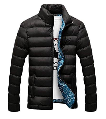 today-UK Mens Down Jacket Winter Padded Lightweight Puffer Outwear Stand Collar Coats Black