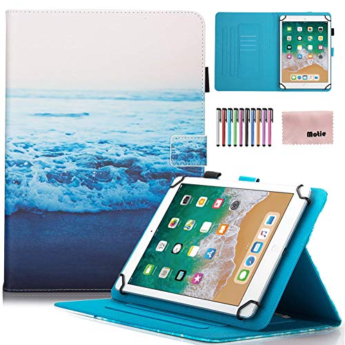 Universal 7 inch Kids Case, Motie Folio PU Leather Wallet Stand Case Cover with Stylus for Samsung Galaxy/Amazon Fire 7/ Paperwhite/ HDX7/ Nexus/Dragon Touch/ASUS/ KOBO/Huawei/ RCA, Sea of Cloud