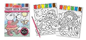 Melissa & Doug Paint With Water Kids' Art Pad With Paintbursh - Playtime, Fairies, Animals, and More