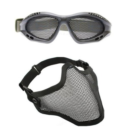 TOOGOO(R) 2 in 1 Protection Steel Face Mask with Metal Mesh Goggles Black Airsoft Paintball Set