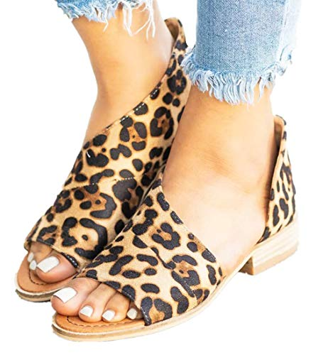 SNIDEL Womens Faux Leather Sandal Open Toe Flats Sip on Summer Casual Low Heels Shoes Leopard 8.5 B (M) US
