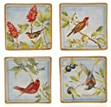 Certified International Botanical Birds Canape Plate, Assorted Designs, 8-1/4-Inch, Set of 4