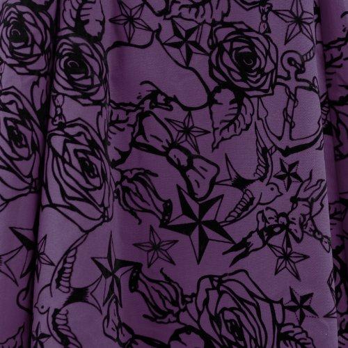 H&R London - Vestido - para mujer Púrpura-Negro