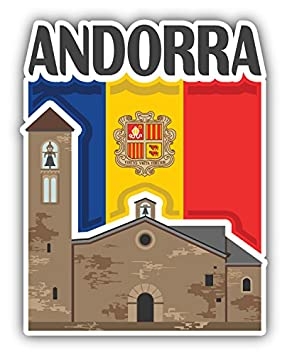 Andorra Flag Slogan Travel Monument Art Decor Vinyl Sticker Pegatina 10 x 12 cm: Amazon.es: Hogar