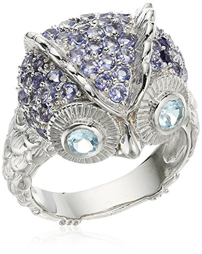 Sterling Silver Blue Topaz and Iolite Owl Ring, Size 9 (Iolite Ring Bezel)