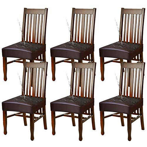 YISUN Dining Chair Covers, Solid Pu Leather Waterproof and Oilproof Stretch Dining Chair Protector Cover Slipcover (BRN, 6 Pack)