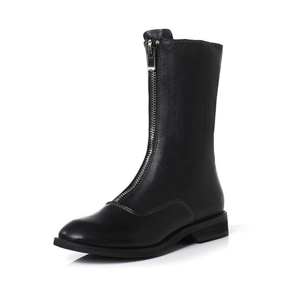 YIWU Damenschuhe Frontreißverschluss Niedrige Ferse Stiefelies Herbst Und Winter Martin Stiefel Kurze Stiefel (Farbe   Schwarz, Größe   EU36 UK3.5 CN35)  | Ausgezeichnet (in) Qualität