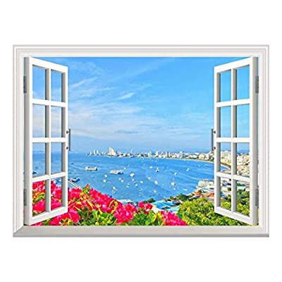 Amazing Handicraft, With a Professional Touch, Removable Wall Sticker Wall Mural Beach of Pattaya Creative Window View Wall Decor