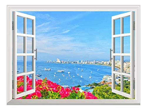 Removable Wall Sticker Wall Mural Beach of Pattaya Creative Window View Wall Decor