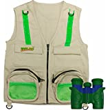 Combination Set: Eagle Eye Explorer Cargo Vest for kids with Reflective Safety Straps and 6x21 Magnification Binoculars with Soft Rubber Eye Piece for Child Protection, Waterproof and Shock-Resistant. Great gift for hiking, hunting bird watching, birthday present, Christmas or Educational Learning Opportunities including Outdoor Play