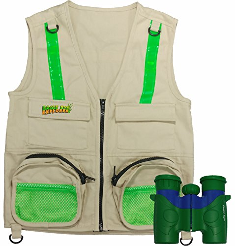 Travel Bug Halloween Costume (Combination Set: Eagle Eye Explorer Cargo Vest for kids with Reflective Safety Straps and 6x21 Magnification Binoculars with Soft Rubber Eye Piece for Child Protection, Waterproof and Shock-Resistant.)