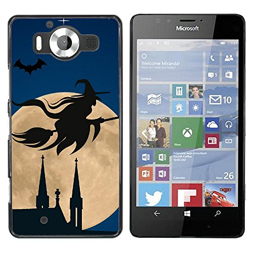 Planetar ( Halloween Witch Flying Broom Over Moon ) NOKIA Lumia 950 Colorful Printed Hard Protective Back Case Cover Shell (Halloween's Over Meme)