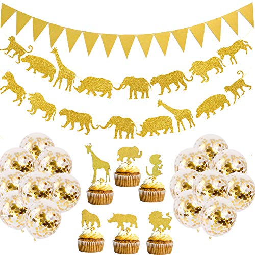 Jungle Baby Shower Party Supplies (Jelacy Gold Jungle Safari Animal Banner- Gold Glitter Jungle Safari Animal Cupcake- Toppers Baby Shower Boys Girls Birthday Party Supplies Decorations, Zoo Themed Party Supplies)