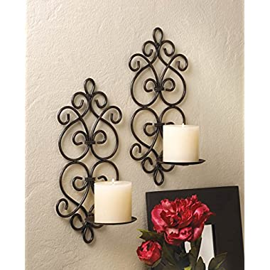 2 Dazzling Sconce Black Candle Holder Wall Decor - Two Sconces Set