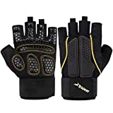 Trideer Double Protection Weight Lifting Gloves, Padded Gym Gloves, Rowing Gloves, Boating Gloves, Breathable & Ultralight Workout Gloves for Men & Women (Golden, XL (Fits 8.2-9.0 Inches))