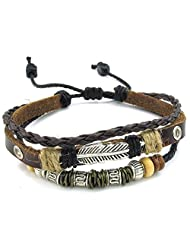 Konov Jewelry Leather Mens Womens Bracelet, Feather Charm 7-9 inch Adjustable Wrap Bangle, Brown Silver, with Gift Bag, C23811