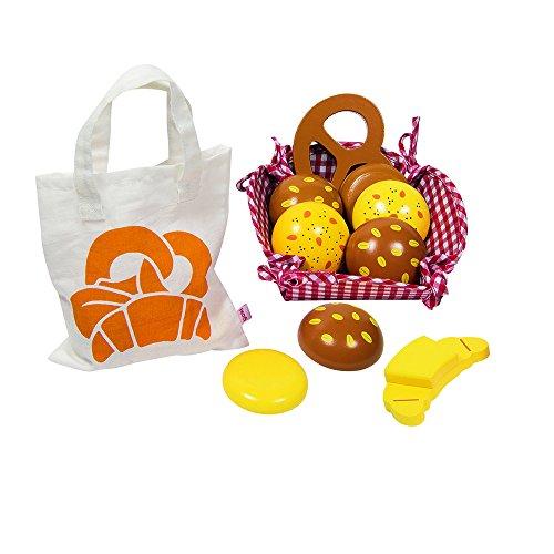 Goki 51704 - Kaufläden und Zubehör - Kaufladen Miniaturen Brötchen, mit Baumwollbeutel und Korb