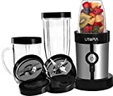 Mini Blender - 10-Piece High Speed 220W Power Blender / Chopper / Mixer Set - Personal Size Blender - Stainless Steel - by Utopia Home