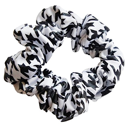 (Solid Stone Fabrics, Inc. Cheer, Gymnastics and Dance Scrunchie - Houndstooth Black/White)