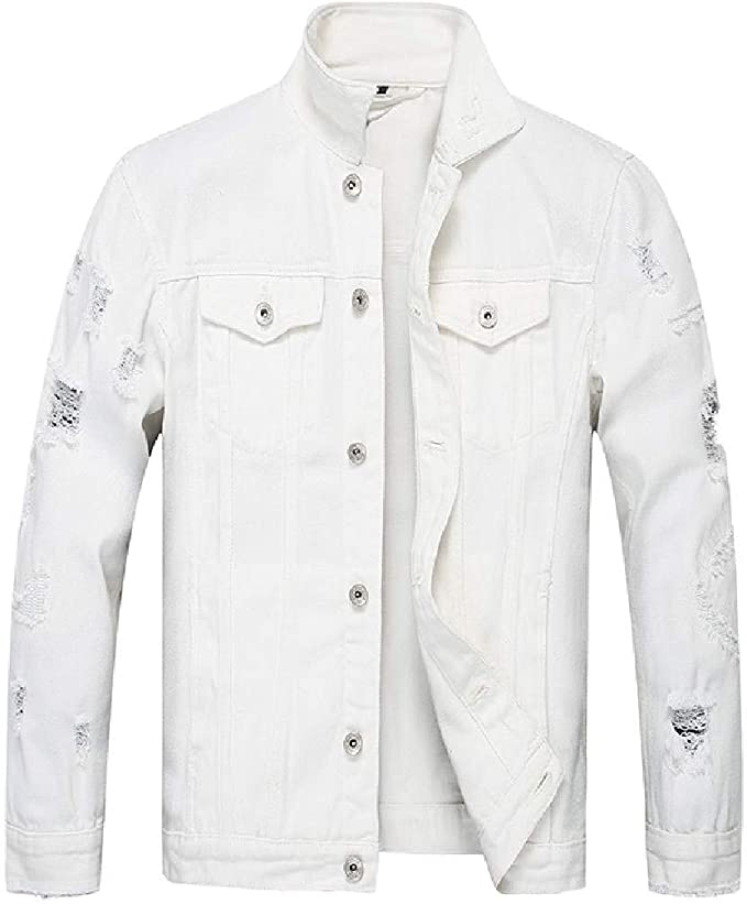 Yeirui Mens Punk Button Down Slim Hip Hop Ripped Denim Trucker Jacket Coat