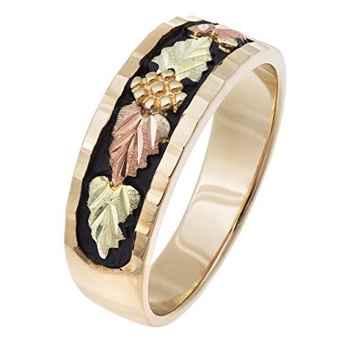Black Hills Gold Wedding Band - Black Hills Gold Men's Antiqued Gold Wedding Band (5) (9)