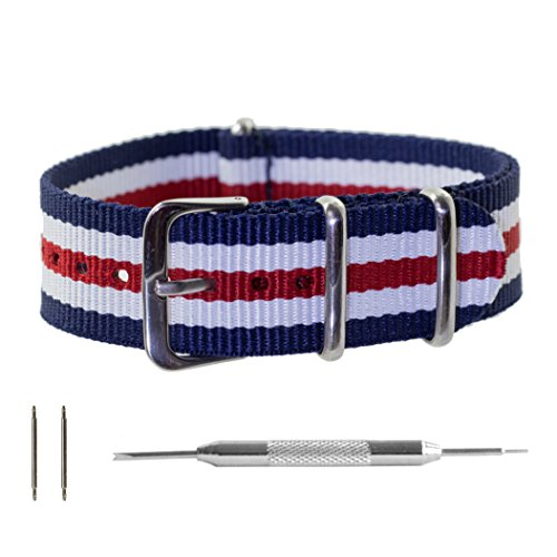 Navy Regimental - Benchmark Straps 22mm Red White & Navy Regimental Striped (5 Stripes) Ballistic Nylon NATO Watchband + Spring Bar Removal Tool