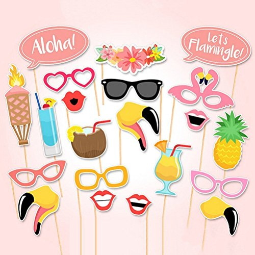 EBTOYS Luau Hawaii Themed Photo Booth Prop 21-Kit DIY Summer Party Supplies for Holiday, Summer Festivals Celebrations, Beach Pool -