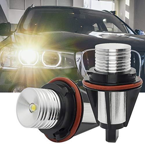 LED Angel Eyes Halo Ring Bulbs Marker Light Daytime Running Lights CREE 10W 6000K Fit for BMW E39 E53 E61 E60 E65 X3 X5 ()