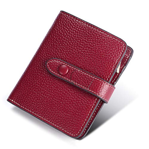 Yafeige Women's RFID Blocking Small Compact Leather Wallet Trifold Ladies Zipper Pocket Wallet Coin Purse(Wine Red) ()