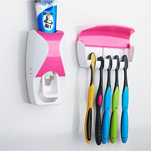 WAYCOM Dust-proof Toothpaste Dispenser Toothpaste Squeezer Kit (Pink)