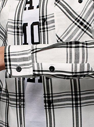 In Donna 1229c Bianco Ultra Camicia Quadri A Oodji Viscosa qX7x1Ap