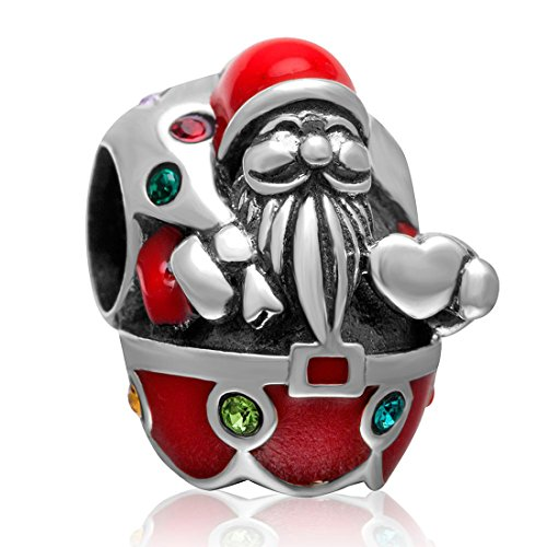 Santa Claus Christmas Charm for Pandora Charms Bracelet Authentic Sterling Silver Charms Red Enamel Charm Beads for Women European Charm DIY Jewellery ()
