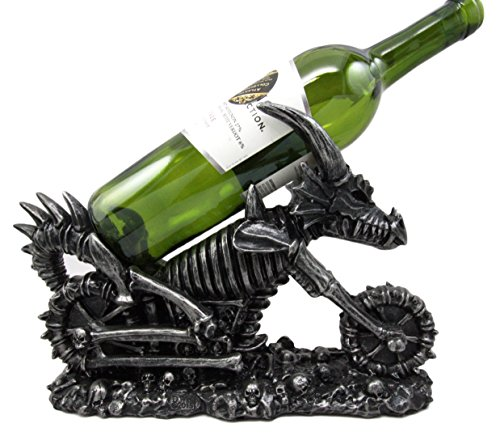 Atlantic Collectibles Large Vin Draco Dracula Dragon Skeleton Motorcycle Chopper Bike Wine Holder Figurine (King Arthur Costume Designer)