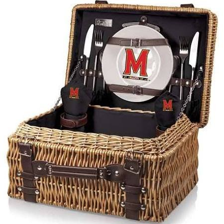 NCAA Maryland Terrapins Champion Picnic Basket with Deluxe Service for Two, Black -