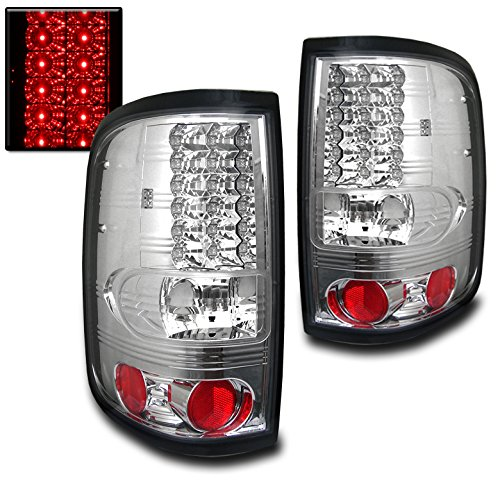 ZMAUTOPARTS F150 Fx4 Lariat 2/4Dr Styleside Rear LED Tail Lights Chrome