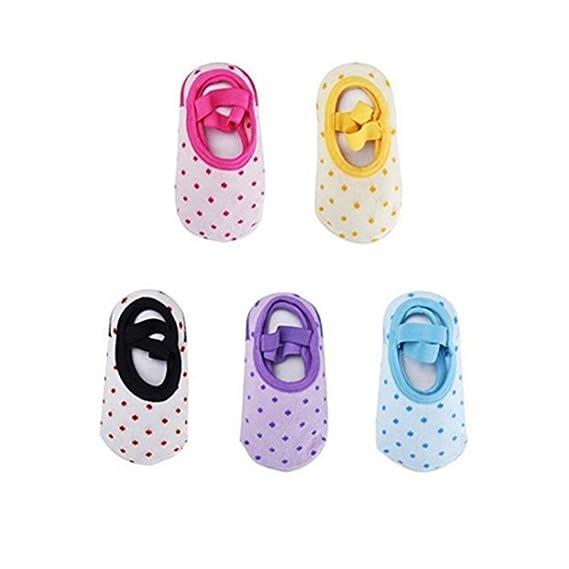 GOPOWD Bebé Niña Calcetines Antideslizantes con Algodón 5 Pares para 10 a 36 meses: Amazon.es: Ropa y accesorios