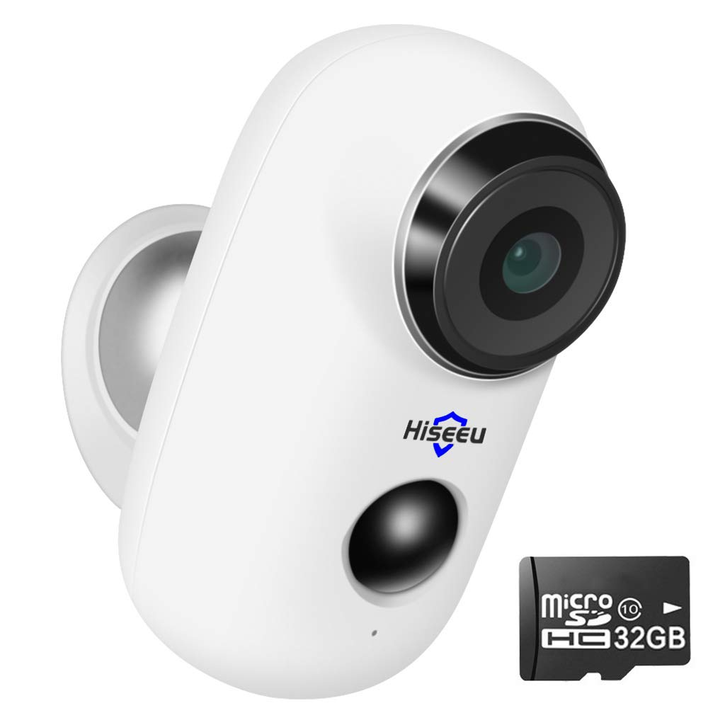 [32GB Preinstalled] Battery Powered Security Camera,Wireless Waterproof Outdoor Surveillance Camera Rechargeable Battery Operated Night Vision 6 Months PIR Motion Record