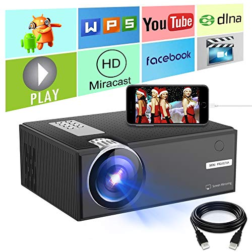 Ifmeyasi Portable Mini Home Video Projector 70% Brighter,Directly Connects Smartphones Tablets Supported 1080p, HDMI, VGA USB VGA AV, Home Cinema, TVs, Laptops, DVD