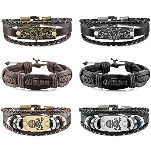 MOWOM 6PCS Brown Black Alloy Genuine Leather Bracelet Bangle Rope Pirate Skull Surfer Wrap Adjustable Set