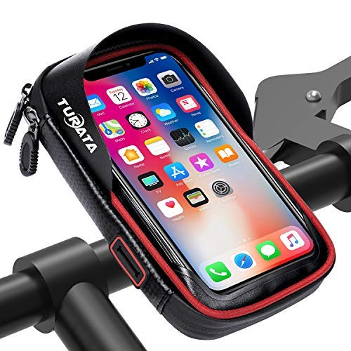 TURATA Handlebar Bike Bag Waterproof Bike Pouch Road Bag Cell Phone Holder Case Front Tube Phone Mount Bag with Sensitive Touch Screen (Red) ()