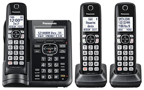 Panasonic KX-TGF543B Expandable Cordless Phone with Call Block and Answering Machine - 3 Handsets by Panasonic (Image #1)