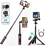 Selfie Stick Tripod, VPROOF 45 Inch Extendable Bluetooth Selfie Stick Tripod with Detachable Remote, Compact Monopod for iPhone X/8 Plus/7 Plus/6S Plus, Galaxy S9 Plus/Note 8, GoPro Cameras (Black)