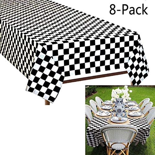 Plastic Black and White Checkered Tablecloths, 8 Packs Plastic Disposable Vinyl Party Tablecloths - Picnic Camping Party Supply Table Cover for Birthdays, Gatherings, Holidays, BBQ (Black and White) -