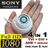 USG 2MP Sony DSP HD CCTV Camera : TVI + CVI + AHD + Analog : 1080p @ 30fps Dome Security Camera : 2.8mm Wide Angle HD Lens : Premium Components : 12x IR LEDs : SPECIAL Tiny Mini Dome